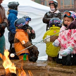 Kids roasting mashmallows