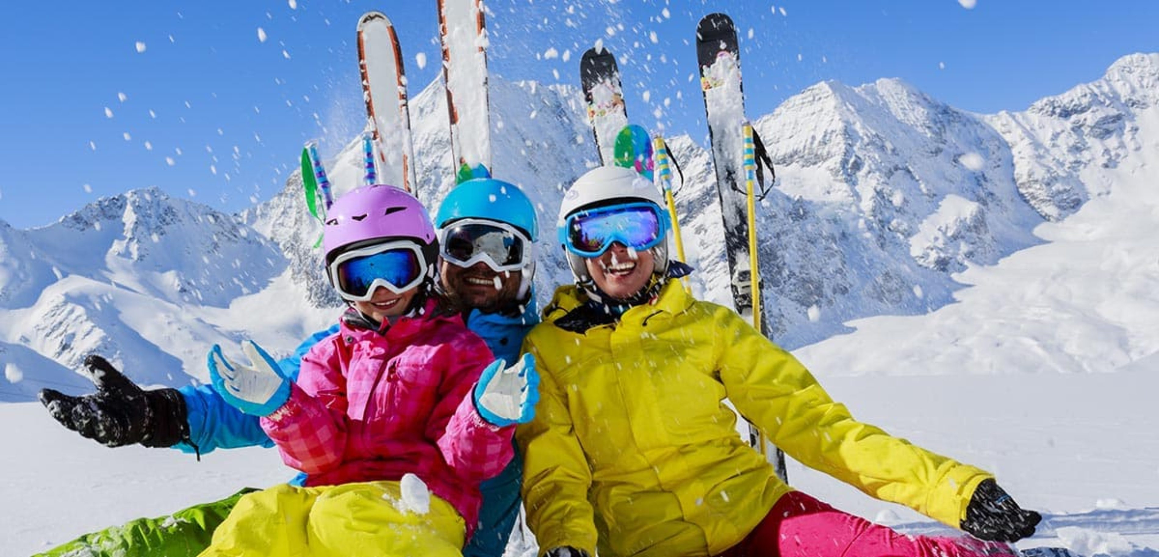 Family skiing on vacation