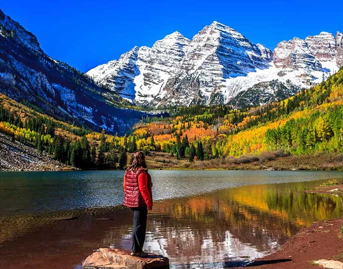 Maroon Bells in the Fall in Snowmass, Colorado